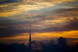 Dubai Skyline with Burj Khalifa at sunset 003